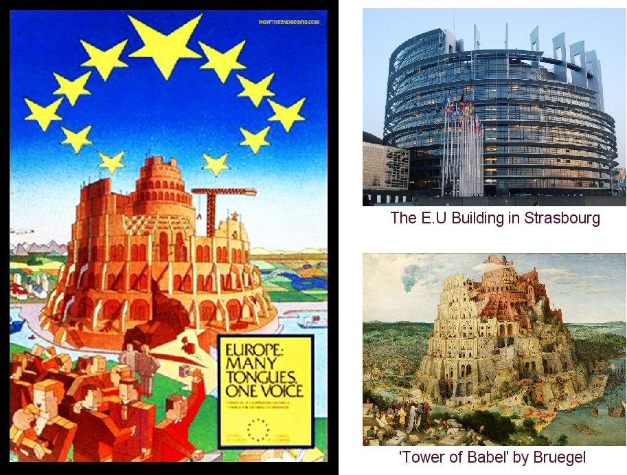 Images referred to by Ian - the poster - the E.U. building in Strasbourg - the 'Tower of Babel' painting by Bruegel